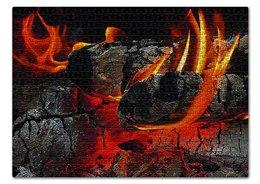 """Пазл 43.5 x 31.4 (408 элементов) """"КОСТЕР"""" - огонь, головни, красота, яркость, стиль"""