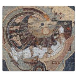 """Пазл магнитный 27.4 x 30.4 (210 элементов) """"Окно в Бесконечность"""" - космонавт, фантастика, иллюстрация, ракета, космос"""