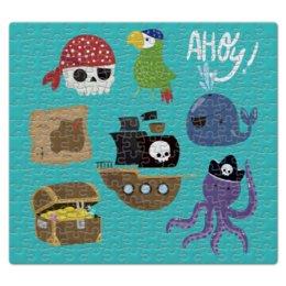 """Пазл магнитный 27.4 x 30.4 (210 элементов) """"Пираты"""" - попугай, кит, осьминог, пират, череп"""