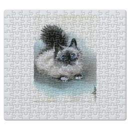 """Пазл магнитный 27.4 x 30.4 (210 элементов) """"Котик"""" - рисунок, черно-белое, котик, акварель, бирюзовый"""