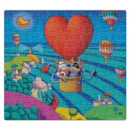 """Пазл магнитный 27.4 x 30.4 (210 элементов) """"iCalistini Влюбленные коровки"""" - сердце, любовь, love, коровы"""