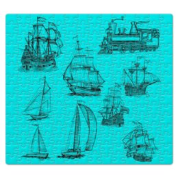 """Пазл магнитный 27.4 x 30.4 (210 элементов) """"Коллекция ручных катеров"""" - судоходство, катер, эскиз, море, океан"""