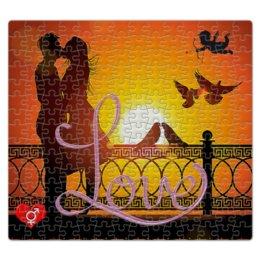 "Пазл магнитный 27.4 x 30.4 (210 элементов) ""ЛЮБОВЬ LOVE. СВИДАНИЕ"" - пара, закат, мост, купидон, голуби"