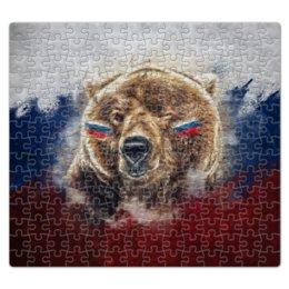 """Пазл магнитный 27.4 x 30.4 (210 элементов) """"Русский Медведь"""" - футбол, медведь, россия, флаг, триколор"""