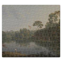 """Пазл магнитный 27.4 x 30.4 (210 элементов) """"пейзаж с озером и лодкой (Томас Райт)"""" - картина, томас райт"""