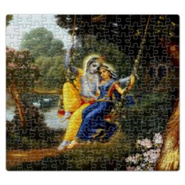 "Пазл магнитный 27.4 x 30.4 (210 элементов) ""Кришна и Радха"" - кришна, радха, радха кришна, кришна и радхарани, кришна и радха"