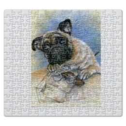 """Пазл магнитный 27.4 x 30.4 (210 элементов) """"Мопс - хранитель писем"""" - рисунок, прикольные, собака, мопс, любителям мопсов"""
