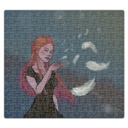 """Пазл магнитный 27.4 x 30.4 (210 элементов) """"Перышко"""" - девушка, снег, рыжая, ветер, перышко"""