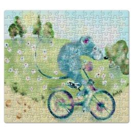 """Пазл магнитный 27.4 x 30.4 (210 элементов) """"Велосипедная пргулка"""" - добрый, мышь, мышка, смешной, велосипед"""
