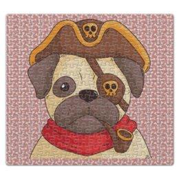 """Пазл магнитный 27.4 x 30.4 (210 элементов) """"Мопс  - пират"""" - череп, собака, трубка, 2018, год собаки"""
