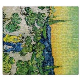 """Пазл магнитный 27.4 x 30.4 (210 элементов) """"Пейзаж с прогуливающейся парой и полумесяцем"""" - картина, ван гог"""