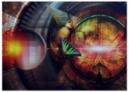 "Пазл магнитный 27.4 x 30.4 (210 элементов) ""Оптическая бабочка"" - бабочка, мозаика, butterfly"