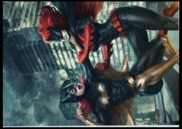 """Пазл магнитный 27.4 x 30.4 (210 элементов) """"Batgirl & Catwoman"""" - кошка, прикольно, арт, популярные, прикольные, batman, в подарок, оригинально, девушке, fight"""
