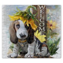 """Пазл магнитный 27.4 x 30.4 (210 элементов) """"Собака"""" - цветок, собака, животное"""