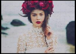 "Пазл магнитный 27.4 x 30.4 (210 элементов) ""Пазл девушка"" - красиво, девушка, цветы, пазл"