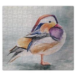 """Пазл магнитный 27.4 x 30.4 (210 элементов) """"Птичка"""" - серый, бежевый, птица, перья, лиловый"""