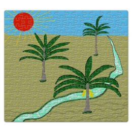 """Пазл магнитный 27.4 x 30.4 (210 элементов) """"Три пальмы. Рисунок. Природа"""" - сердце, природа, путешествия, пальмы, юг"""