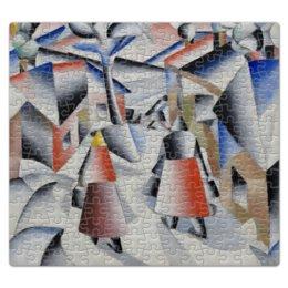 """Пазл магнитный 27.4 x 30.4 (210 элементов) """"Утро после вьюги в деревне (Малевич)"""" - картина, живопись, малевич, кубизм, модерн"""