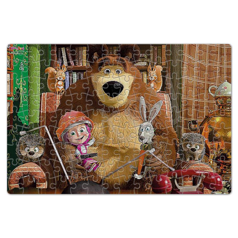 Пазл магнитный 18 x 27 (126 элементов) Printio Маша и медведь. мультфильмы цена