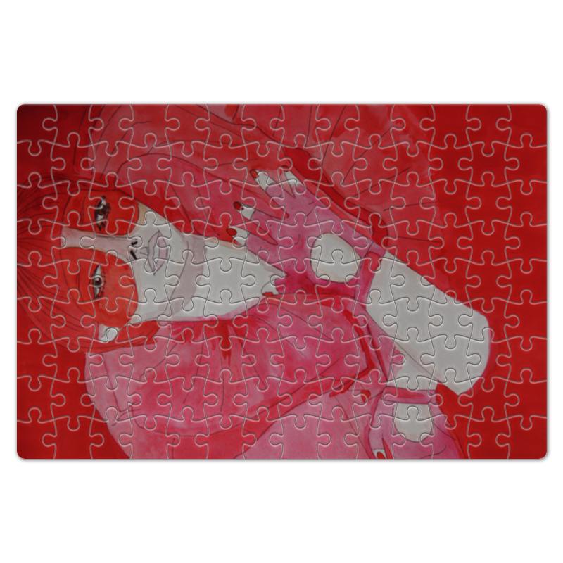 Пазл магнитный 18 x 27 (126 элементов) Printio Девушка в красном куплю еврозаборы в красном луче
