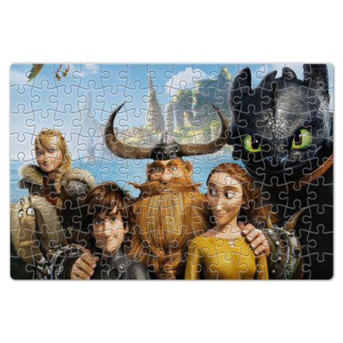 """Пазл магнитный 18 x 27 (126 элементов) """"Покоритель драконов Иккинг и его семья"""" - драконы, ночная фурия, как приручить дракона, викинги"""