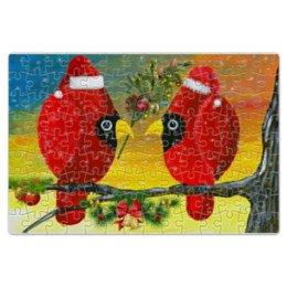 """Пазл магнитный 18 x 27 (126 элементов) """"Новый год на ветке"""" - новогодний подарок для ребёнка, игра для детей, игра собери картинку, прикольные птички, парочка красных птиц"""