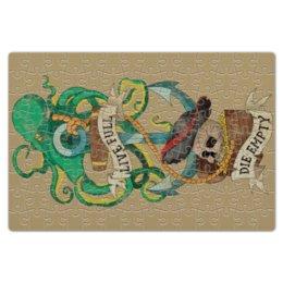 """Пазл магнитный 18 x 27 (126 элементов) """"Осьминог"""" - череп, якорь, old school, татуировка, пират"""
