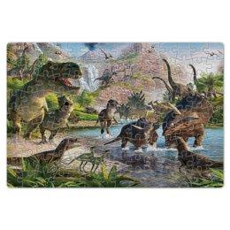 """Пазл магнитный 18 x 27 (126 элементов) """"динозавры"""" - природа, вулкан, птеродактиль, стиль"""
