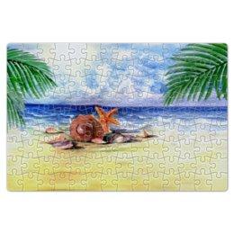 """Пазл магнитный 18 x 27 (126 элементов) """"Пляжный"""" - море, пляж, пальма, ракушка, морская звезда"""