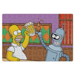 "Пазл магнитный 18 x 27 (126 элементов) ""Гомер Симпсон"" - футурама, гомер симпсон, бендер, bender, homer simpson"