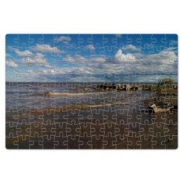 """Пазл магнитный 18 x 27 (126 элементов) """"Летний берег"""" - лето, море, пляж, волны, берег"""