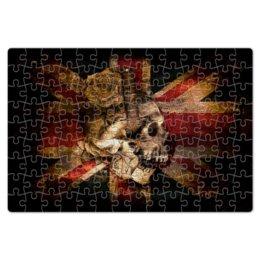"Пазл магнитный 18 x 27 (126 элементов) ""Череп конфедерата"" - череп, флаг, розы, united kingdom, флаг конфедерации"
