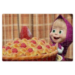 """Пазл магнитный 18 x 27 (126 элементов) """"Маша и ягодный пирог"""" - маша и медведь, пирог, маша"""