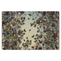 """Пазл магнитный 18 x 27 (126 элементов) """"цветы лето"""" - бабочка, лето, мак, вьюнок"""