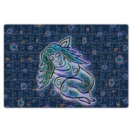 """Пазл магнитный 18 x 27 (126 элементов) """"Дремлющая троллита"""" - девушка, тролль, графика, сладкие сны, мифические существа"""