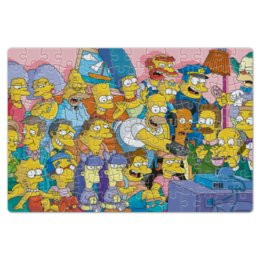 "Пазл магнитный 18 x 27 (126 элементов) ""Симпсоны"" - симпсоны, гомер симпсон, the simpsons, мо сизлак, клоун красти"