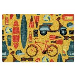 """Пазл магнитный 18 x 27 (126 элементов) """"Летний"""" - отдых, рисунок, спортивный, велосипед, летний"""