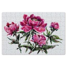 """Пазл магнитный 18 x 27 (126 элементов) """"Пионы"""" - цветы, весна, подарок, тёмный, пион"""
