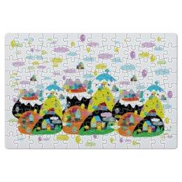 """Пазл магнитный 18 x 27 (126 элементов) """"Облачный городок"""" - детский, облака, горы, воздушные шары, воздушный шар"""