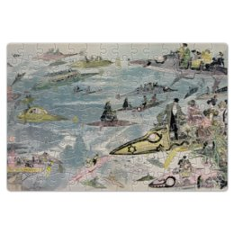 """Пазл магнитный 18 x 27 (126 элементов) """"2000 год в представлении Альбера Робида"""" - картина, живопись, стимпанк, робида"""