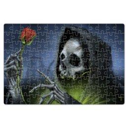 """Пазл магнитный 18 x 27 (126 элементов) """"Смерть с розой"""" - готика, роза, смерть, мистика, металл"""