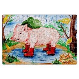 """Пазл магнитный 18 x 27 (126 элементов) """"Маленькая свинка"""" - ручная работа, детский рисунок, от детей, детская работа"""
