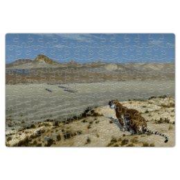 """Пазл магнитный 18 x 27 (126 элементов) """"Наблюдающий тигр (Жан-Леон Жером)"""" - картина, пейзаж, живопись, жером, неогрек"""