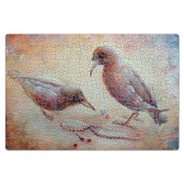 """Пазл магнитный 18 x 27 (126 элементов) """"Птицы"""" - птица, шиповник, бусины"""