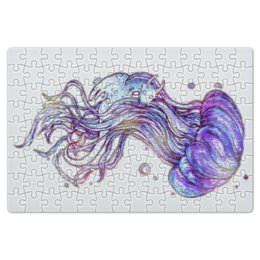 """Пазл магнитный 18 x 27 (126 элементов) """"Медуза и дух воды"""" - вода, иллюстрация, акварель, медуза"""