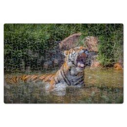 """Пазл магнитный 18 x 27 (126 элементов) """"Свирепый тигр"""" - тигр, фотография, животное"""
