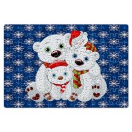 """Пазл магнитный 18 x 27 (126 элементов) """"Белые медведи"""" - животные, медведь, снежинки, белый медведь, полярные медведи"""