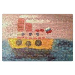 """Пазл магнитный 18 x 27 (126 элементов) """"Пароход"""" - море, рисунок, корабль, шторм, пароход"""