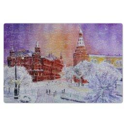 """Пазл магнитный 18 x 27 (126 элементов) """"Новогодняя Москва"""" - новый год, москва, снег, красная площадь, рождестово"""