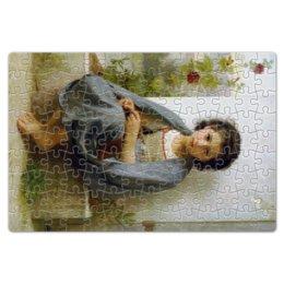 """Пазл магнитный 18 x 27 (126 элементов) """"Маленькая вязальщица (картина Вильяма Бугро)"""" - картина, девочка, академизм, живопись, бугро"""